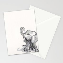 tiny elephant sitting in the corner Stationery Cards