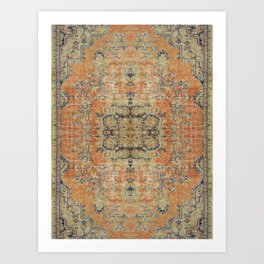 Vintage Woven Coral and Blue Kilim Art Print