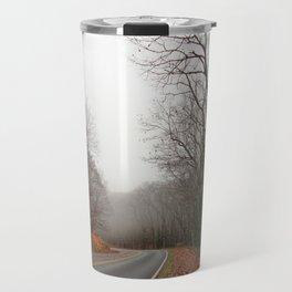 Foggy Fall Road Travel Mug