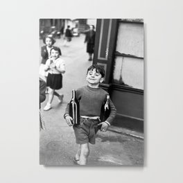 Little Boy and Bottles of Wine, Black and White Vintage Art Metal Print