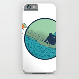 Kitesurfer with wave iPhone Case