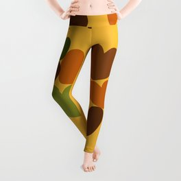 Seventies hearts - curry yellow Leggings