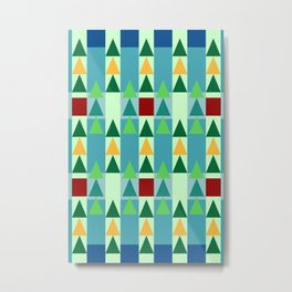 christmas xmas & advent pattern, christmas colors green and blue green with dark red and yellow, str Metal Print
