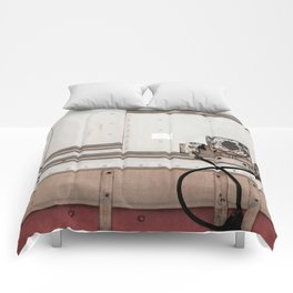 Abstract Panels With Red And White Tiles Comforters