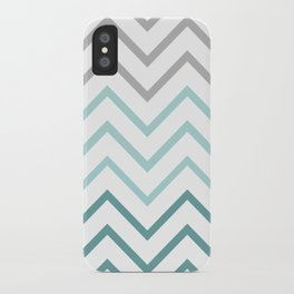 THIN TEAL CHEVRON FADE  iPhone Case