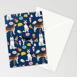 Husky siberian huskies junk food cute dog art sweet treat dogs pet portrait pattern Stationery Cards