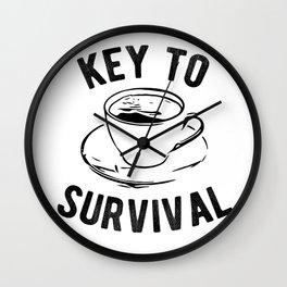 Coffee Key To Survival Caffeine Addict Wall Clock