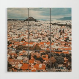 View of Acropolis in Athens Fine Art Print Wood Wall Art