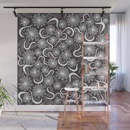 Modern Elegant Simple Black and White Lined Flowers Wall Mural