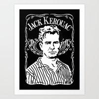kerouac Art Prints featuring Jack Kerouac by Josep M. Maya