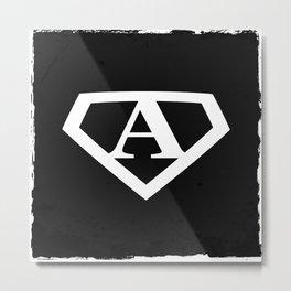 White Letter A Symbol Metal Print