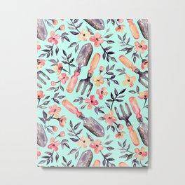 Spring Gardening - peach blossoms on mint Metal Print