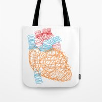 anatomical heart Tote Bags featuring Anatomical Heart by Media Profunda