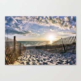 Foot Prints in the Sand Florida Beach Sunset Art Canvas Print