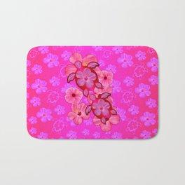 Pink Hibiscus And Honu Turtles Bath Mat