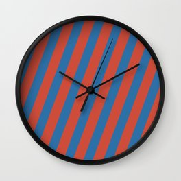 Royal Stripes (Nebulas Blue and Red Pear) Wall Clock