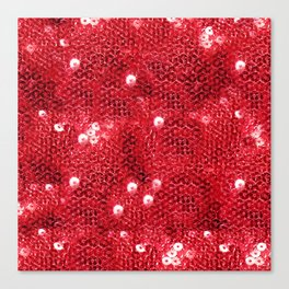 Faux Red Sequin Background Canvas Print