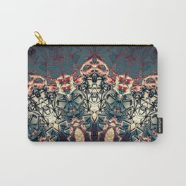 Teal Beige Textured Half Mandala Carry-All Pouch