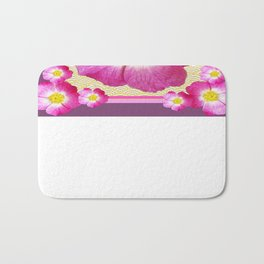 Pink Wild Roses & Puce Purple Abstract Pattern Bath Mat