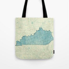 Kentucky State Map Blue Vintage Tote Bag