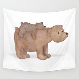Papa Bear Piggy Back Wall Tapestry