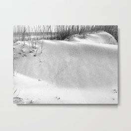 Tybee Island Footprints in the Sand Metal Print
