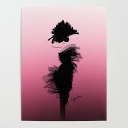Fashion model in little black dress and pink Poster