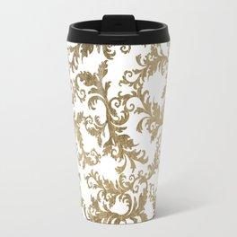 Vintage faux gold elegant floral damask Travel Mug