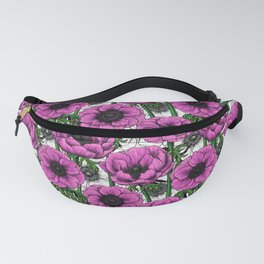 Pink anemone garden Fanny Pack