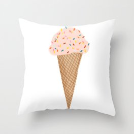 Pink Ice Cream with Rainbow Sprinkles Throw Pillow