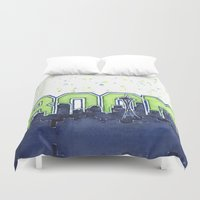 seahawks Duvet Covers featuring Seattle Legion of Boom Space Needle Skyline Watercolor  by Olechka