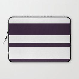 Mixed Horizontal Stripes - White and Dark Purple Laptop Sleeve