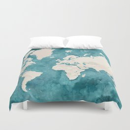 Teal watercolor and light brown world map Duvet Cover