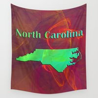 north carolina Wall Tapestries featuring North Carolina Map by Roger Wedegis