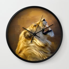 Roaring lion portrait Wall Clock