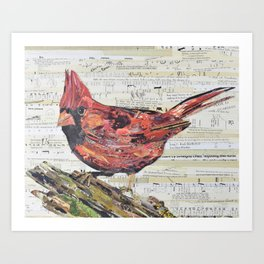 Cardinal / Red Bird Collage by C.E. White Art Print