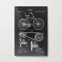 Vintage Bicycle patent illustration 1890 Metal Print