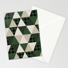 Hunter Green camping cabin glamping cheater quilt baby nursery gender neutral Stationery Cards