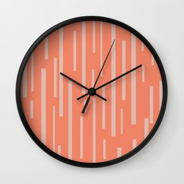 Interrupted Lines Mid-Century Modern Pattern in Coral Blush Pink Wall Clock