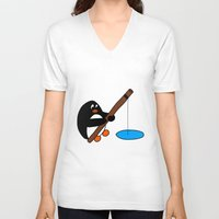 fishing V-neck T-shirts featuring Fishing by Kakida Lily