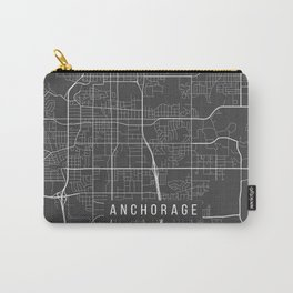 Anchorage Map, Alaska USA - Charcoal Portrait Carry-All Pouch