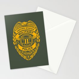 U.S. Military Police Veteran Security Force Badge, Gold Stationery Cards