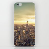 new york skyline iPhone & iPod Skins featuring New York Skyline Cityscape by Vivienne Gucwa