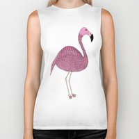 flamingo Biker Tanks featuring Flamingo by Frida Strömshed