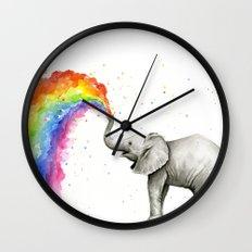 Baby Elephant Spraying Rainbow Whimsical Animals Wall Clock