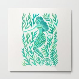 Kelp Forest Mermaid – Mint Palette Metal Print