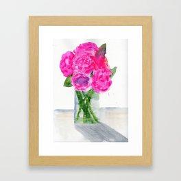 Peonies in a Vase Framed Art Print