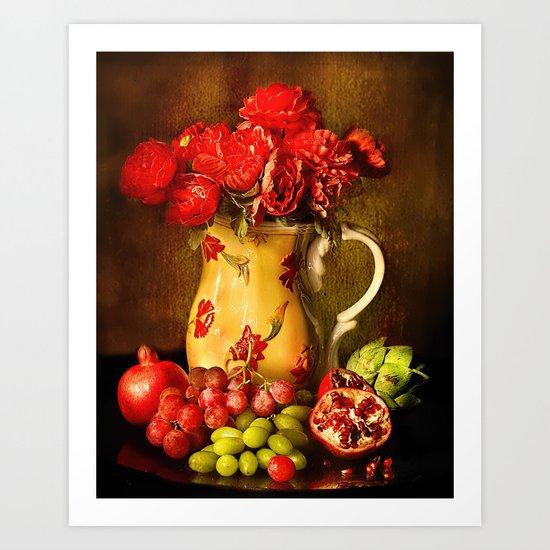 Flower and fruit Art Print