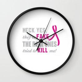 Breast Cancer Awareness Funny T-shirt Wall Clock