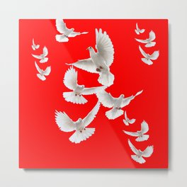 FLOCK OF WHITE PEACE DOVES ON RED COLOR Metal Print